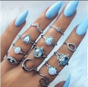 12 piece Bohemian ring set